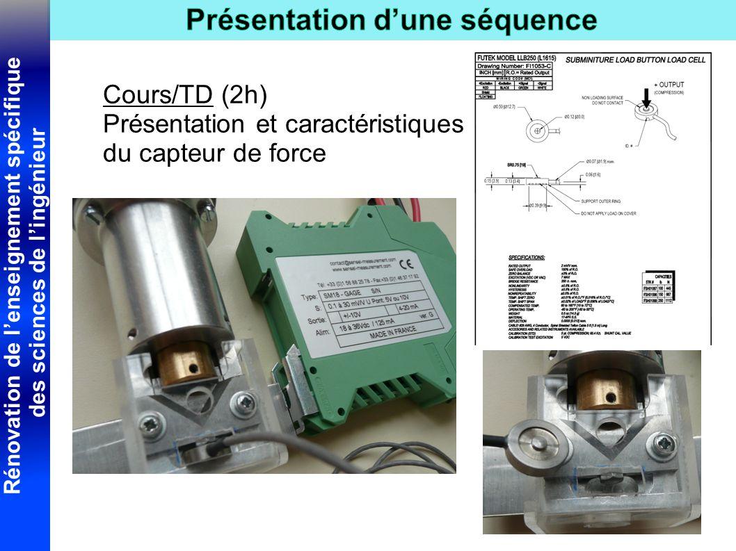 Rénovation de l'enseignement spécifique des sciences de l'ingénieur Cours/TD (2h) Présentation et caractéristiques du capteur de force