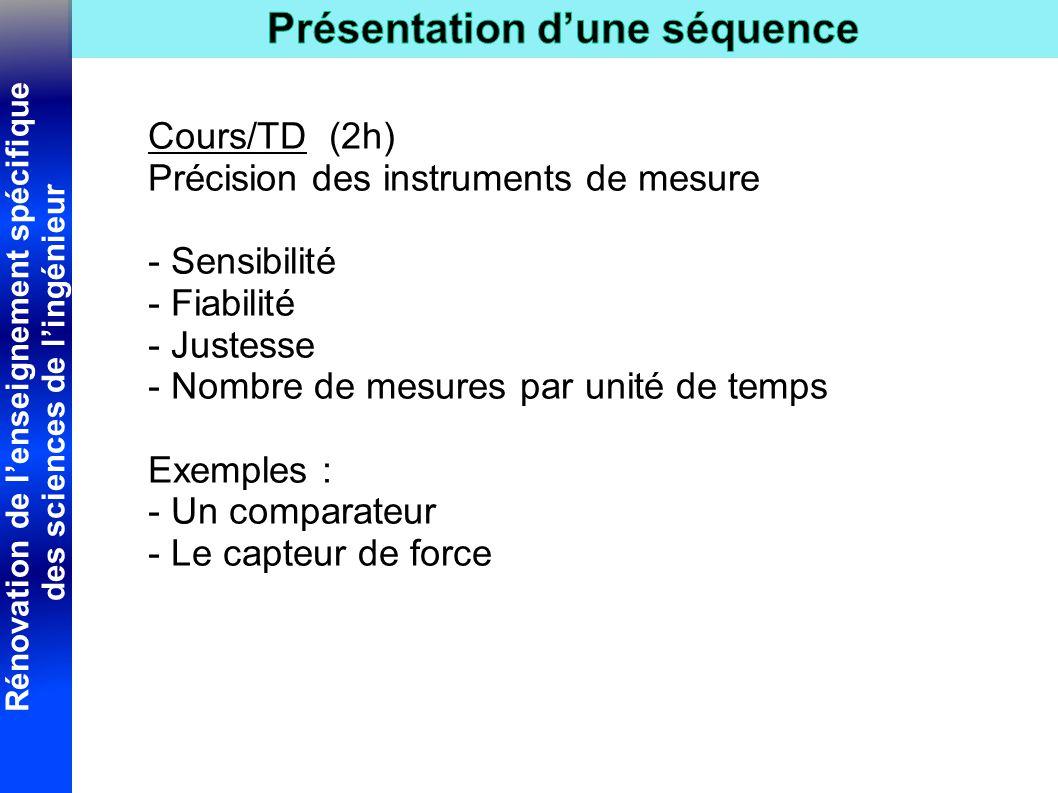 Rénovation de l'enseignement spécifique des sciences de l'ingénieur Cours/TD (2h) Précision des instruments de mesure - Sensibilité - Fiabilité - Justesse - Nombre de mesures par unité de temps Exemples : - Un comparateur - Le capteur de force