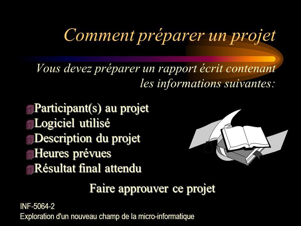 Exemples de projet (suite) Préparer une animation multimédia Utiliser un logiciel de présentation (Ex. PowerPoint) Utiliser un logiciel de télécommuni