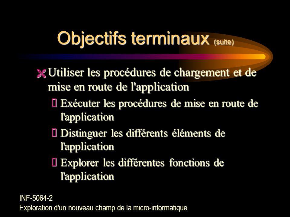 Objectifs terminaux ÊConnaître les principales possibilités d'une nouvelle application  Déterminer l'application informatique à utiliser  Dégager le