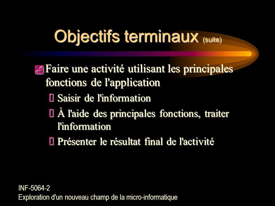 Objectifs terminaux (suite) Ë Utiliser les procédures de chargement et de mise en route de l'application  Exécuter les procédures de mise en route de