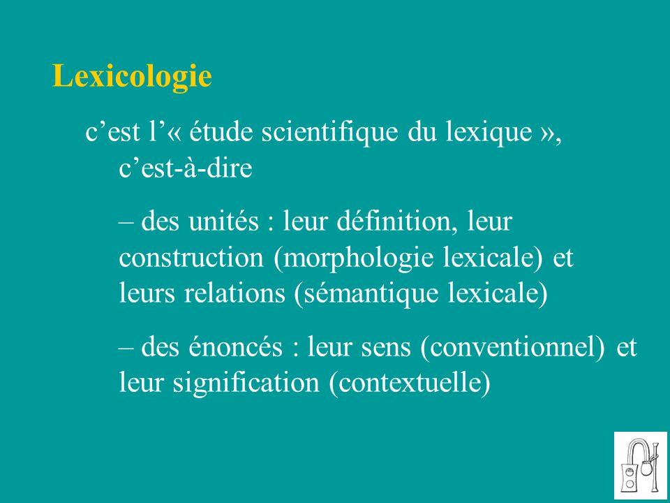 Lexicologie c'est l'« étude scientifique du lexique », c'est-à-dire – des unités : leur définition, leur construction (morphologie lexicale) et leurs