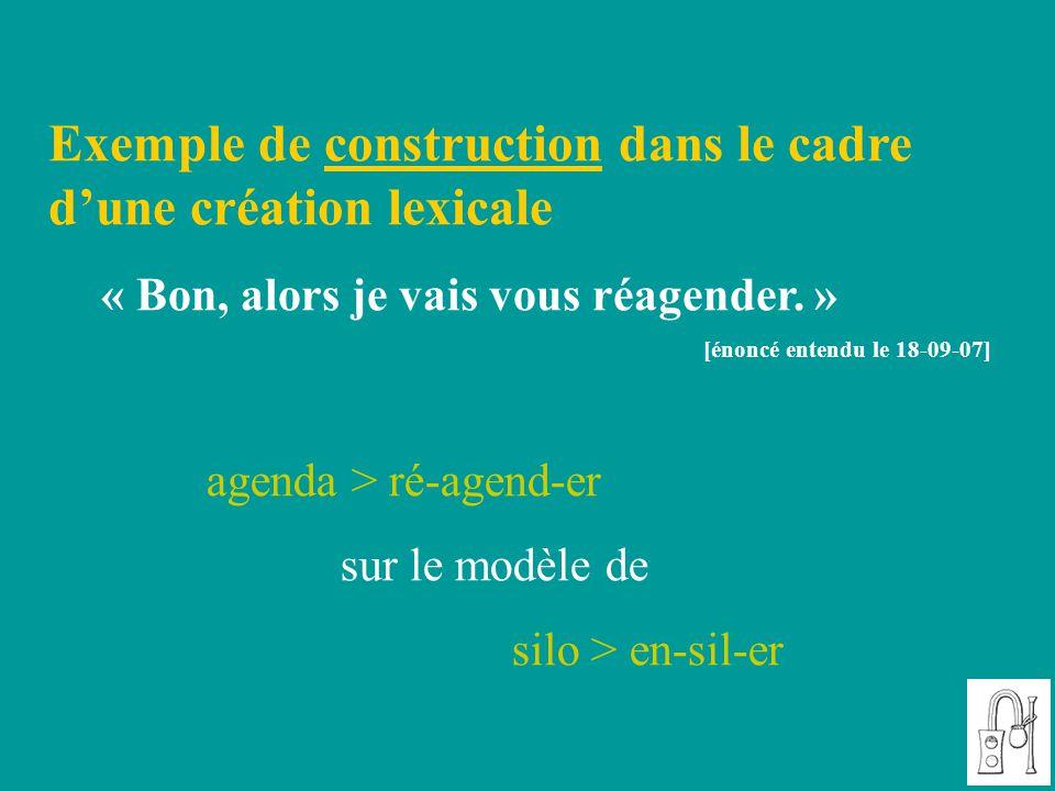 Exemple de construction dans le cadre d'une création lexicale « Bon, alors je vais vous réagender. » [énoncé entendu le 18-09-07] agenda > ré-agend-er