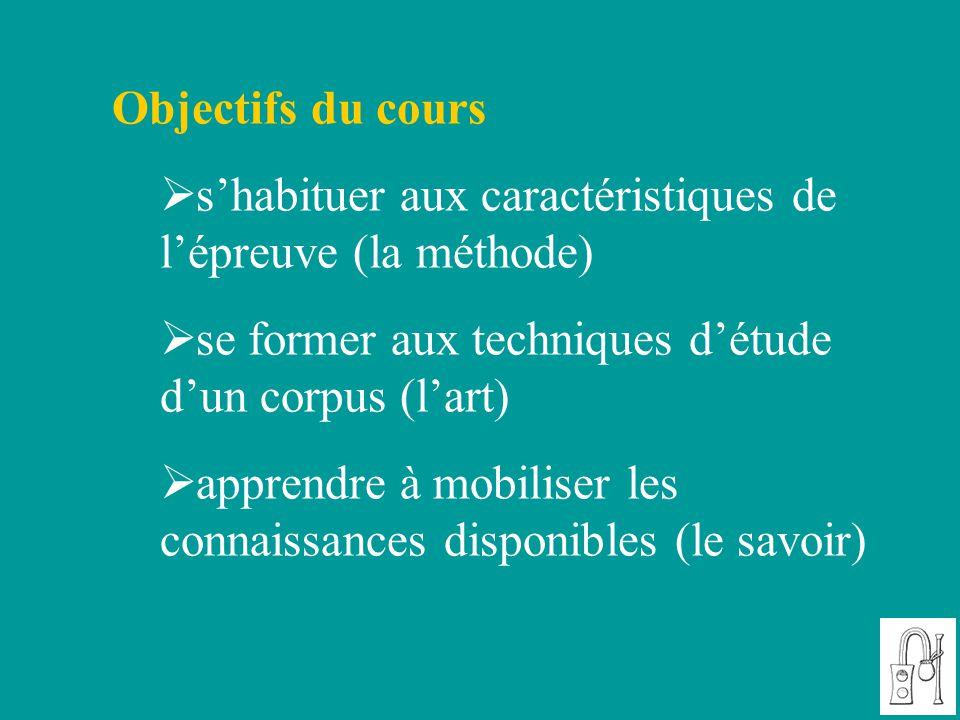 Objectifs du cours  s'habituer aux caractéristiques de l'épreuve (la méthode)  se former aux techniques d'étude d'un corpus (l'art)  apprendre à mo
