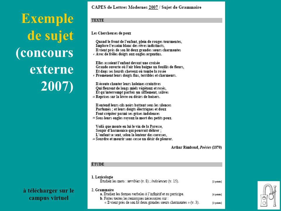 Exemple de sujet (concours externe 2007) à télécharger sur le campus virtuel