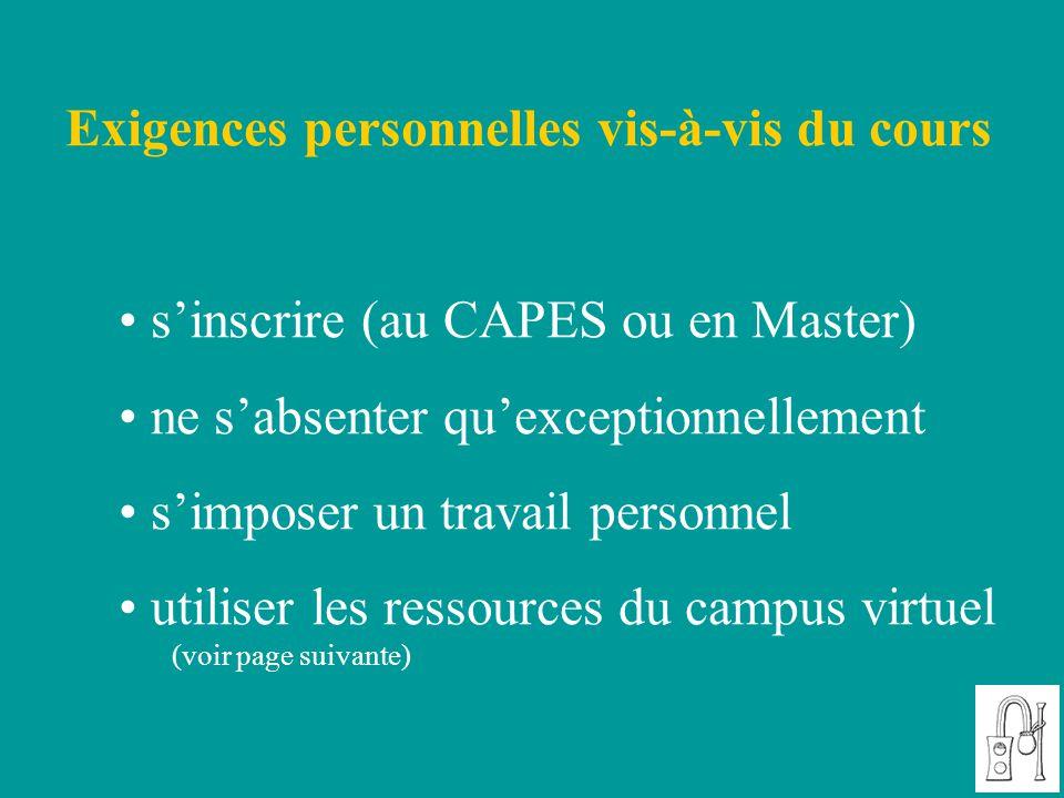 Exigences personnelles vis-à-vis du cours s'inscrire (au CAPES ou en Master) ne s'absenter qu'exceptionnellement s'imposer un travail personnel utilis