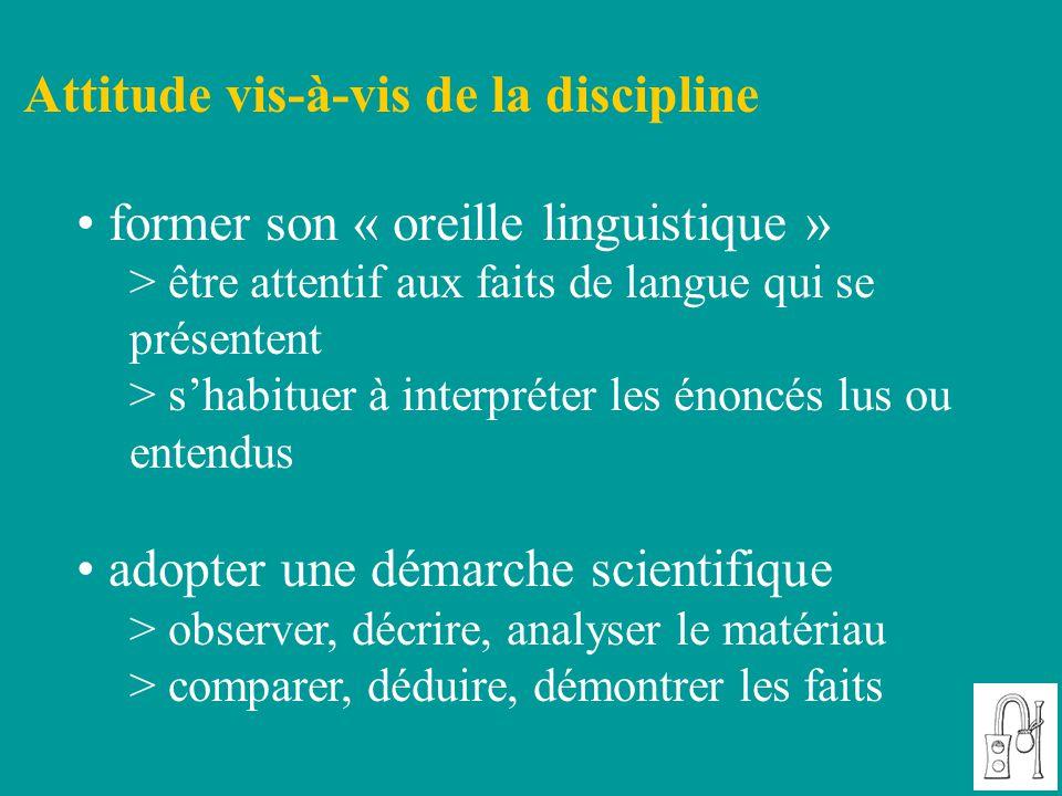 Attitude vis-à-vis de la discipline former son « oreille linguistique » > être attentif aux faits de langue qui se présentent > s'habituer à interprét