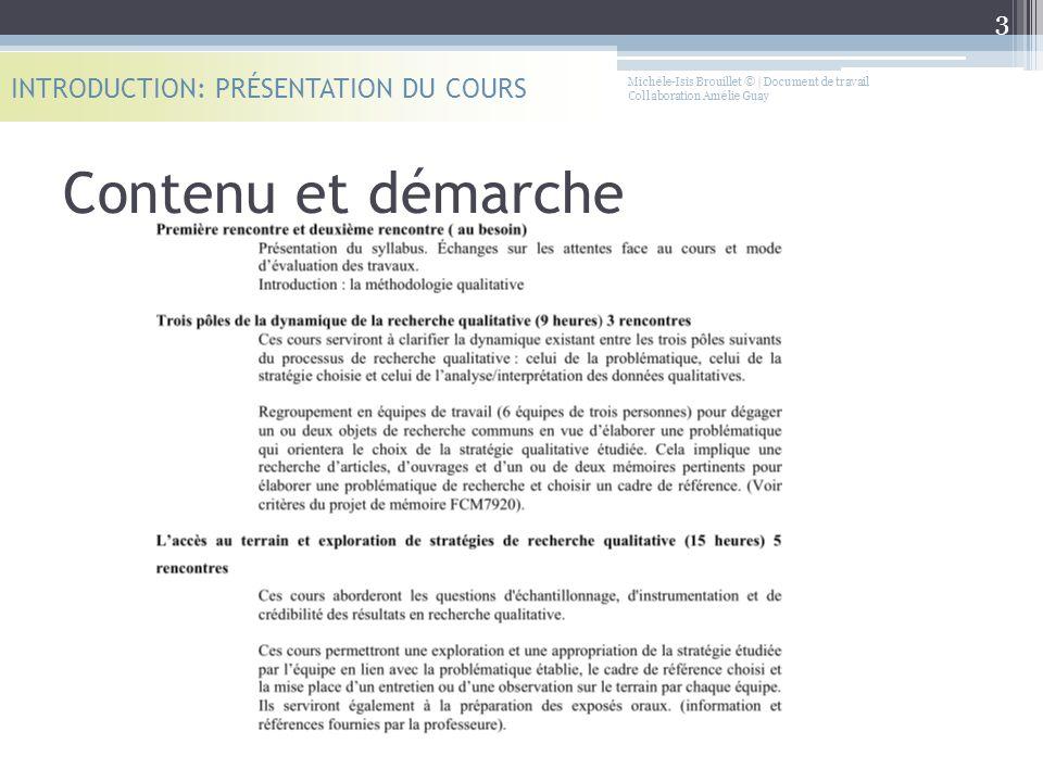 Contenu et démarche INTRODUCTION: PRÉSENTATION DU COURS 3 Michèle-Isis Brouillet © | Document de travail Collaboration Amélie Guay