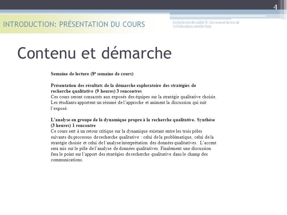 Contenu et démarche INTRODUCTION: PRÉSENTATION DU COURS Semaine de lecture (8 e semaine de cours) Présentation des résultats de la démarche exploratoi