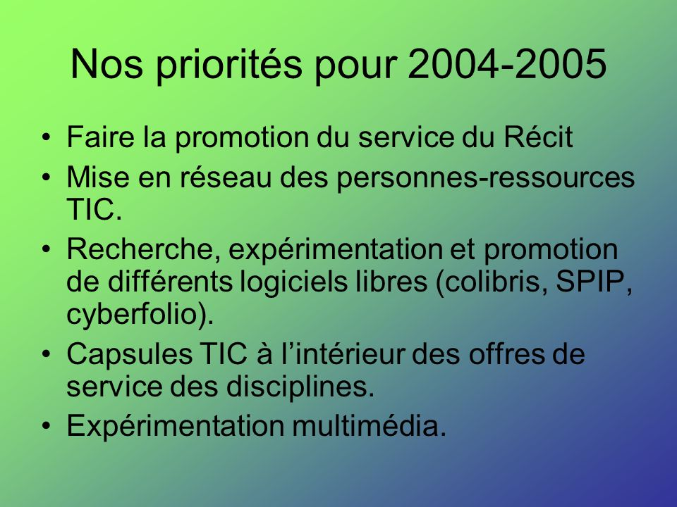 Nos priorités pour 2004-2005 Faire la promotion du service du Récit Mise en réseau des personnes-ressources TIC. Recherche, expérimentation et promoti