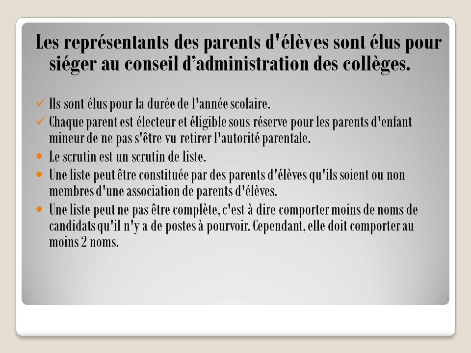 Les représentants des parents d'élèves sont élus pour siéger au conseil d'administration des collèges. Ils sont élus pour la durée de l'année scolaire