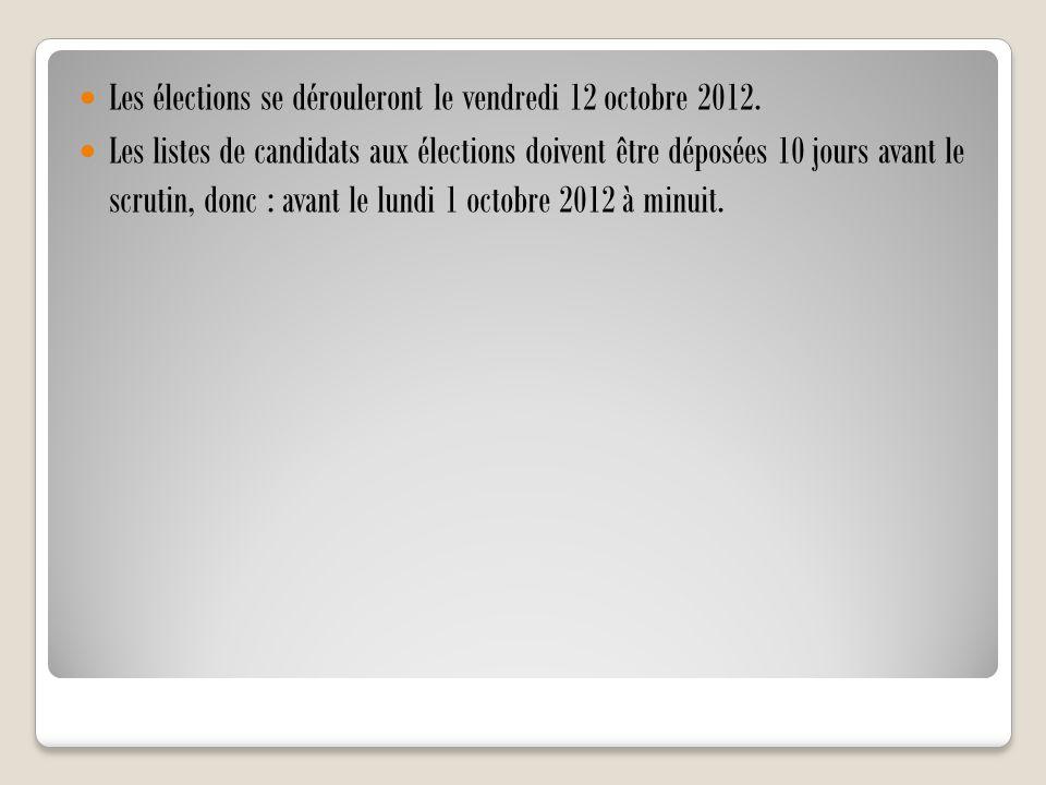 Les élections se dérouleront le vendredi 12 octobre 2012. Les listes de candidats aux élections doivent être déposées 10 jours avant le scrutin, donc