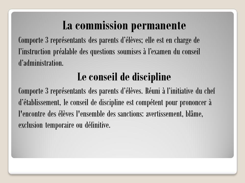 La commission permanente Comporte 3 représentants des parents d'élèves; elle est en charge de l'instruction préalable des questions soumises à l'exame