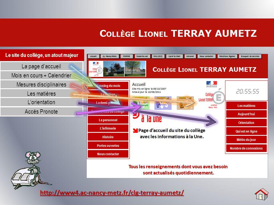 Le site du collège, un atout majeur La page d'accueil Mois en cours + Calendrier http://www4.ac-nancy-metz.fr/clg-terray-aumetz/ Mesures disciplinaire