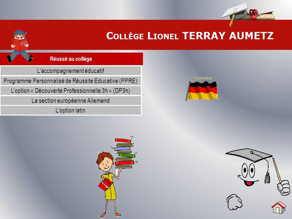 Réussir au collège L'accompagnement éducatif Programme Personnalisé de Réussite Educative (PPRE) L'option « Découverte Professionnelle 3h » (DP3h) La
