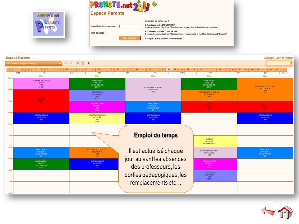 Emploi du temps Emploi du temps Il est actualisé chaque jour suivant les absences des professeurs, les sorties pédagogiques, les remplacements etc…