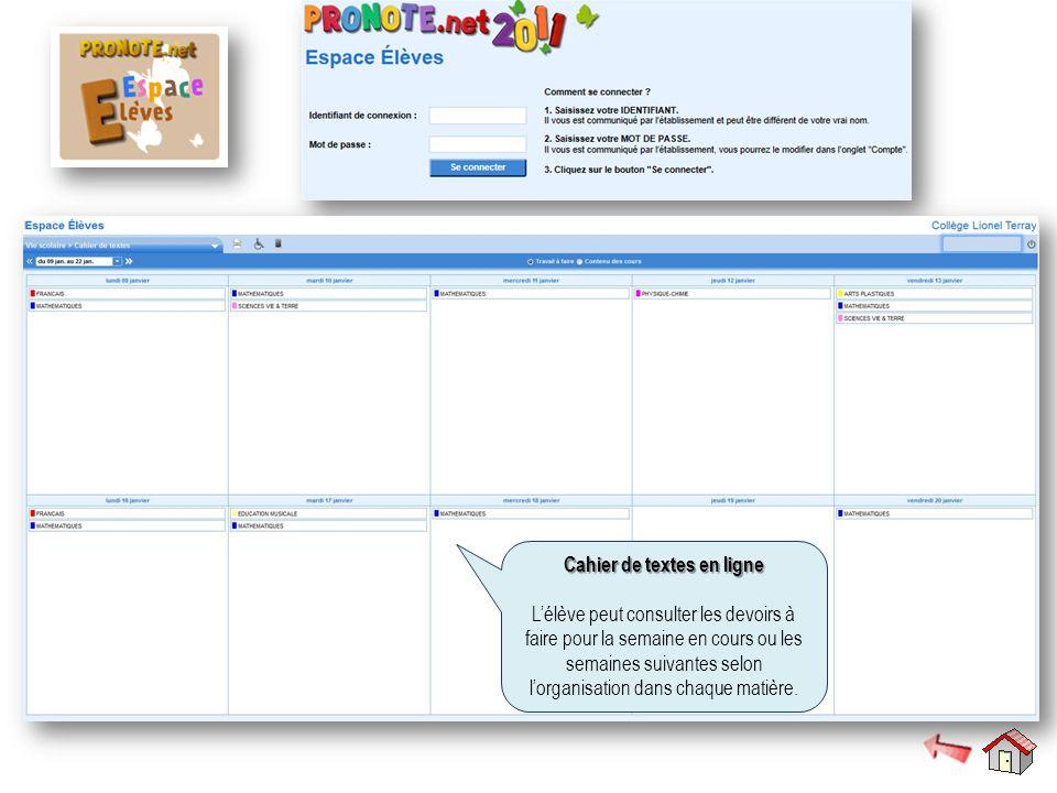 Cahier de textes en ligne Cahier de textes en ligne L'élève peut consulter les devoirs à faire pour la semaine en cours ou les semaines suivantes selo