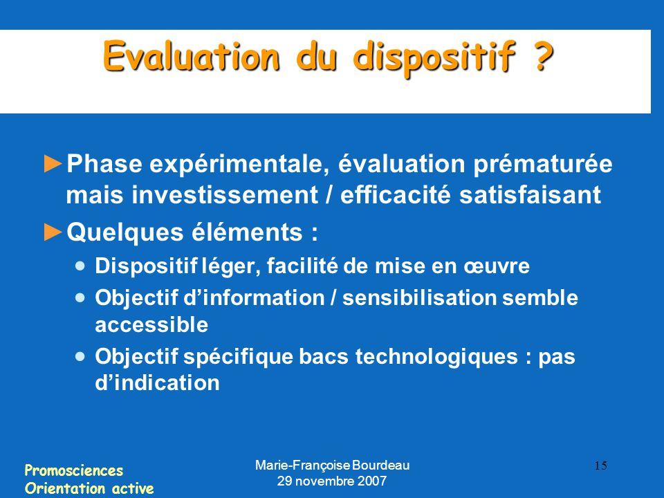 Promosciences Orientation active Marie-Françoise Bourdeau 29 novembre 2007 15 Evaluation du dispositif .