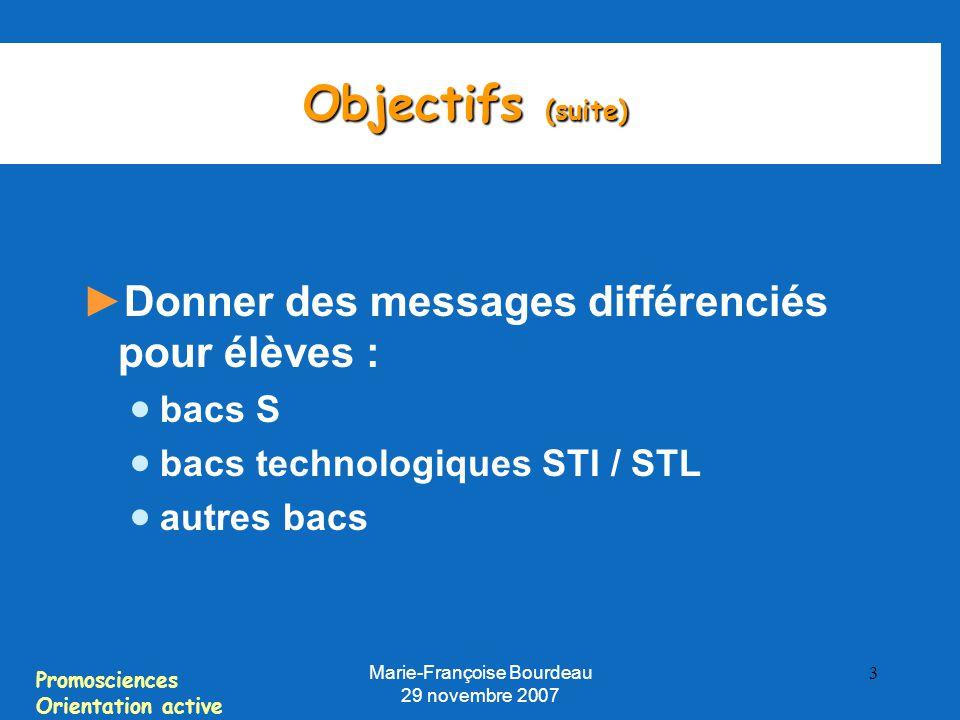 Promosciences Orientation active Marie-Françoise Bourdeau 29 novembre 2007 3 Objectifs (suite) ► Donner des messages différenciés pour élèves :  bacs S  bacs technologiques STI / STL  autres bacs
