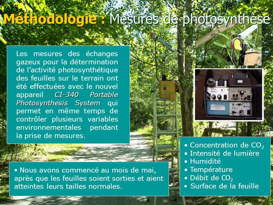 Méthodologie : Mesures de photosynthèse CI-340 Portable Photosynthesis System Les mesures des échanges gazeux pour la détermination de l'activité photosynthétique des feuilles sur le terrain ont été effectuées avec le nouvel appareil CI-340 Portable Photosynthesis System qui permet en même temps de contrôler plusieurs variables environnementales pendant la prise de mesures.