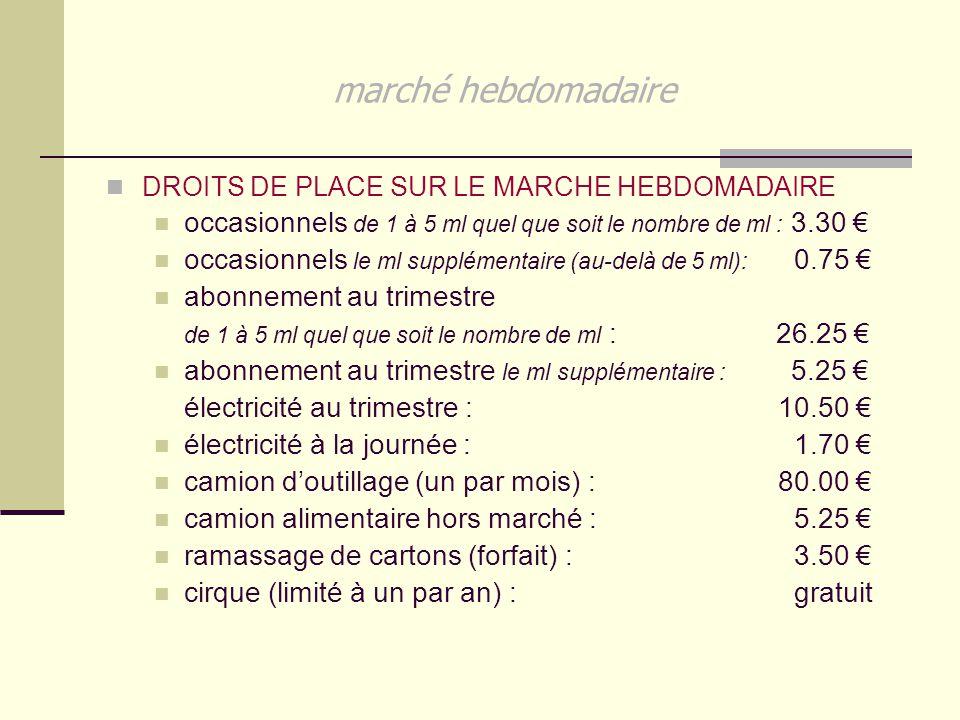 marché hebdomadaire DROITS DE PLACE SUR LE MARCHE HEBDOMADAIRE occasionnels de 1 à 5 ml quel que soit le nombre de ml : 3.30 € occasionnels le ml supp