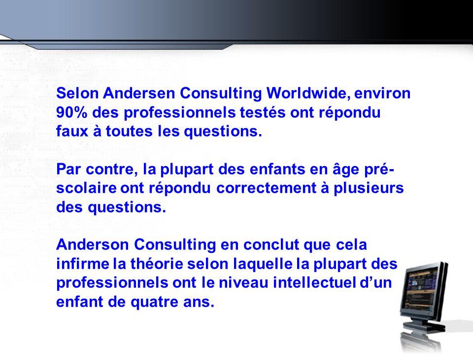 Selon Andersen Consulting Worldwide, environ 90% des professionnels testés ont répondu faux à toutes les questions. Par contre, la plupart des enfants