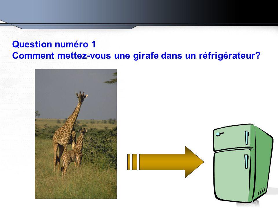 Question numéro 1 Comment mettez-vous une girafe dans un réfrigérateur?