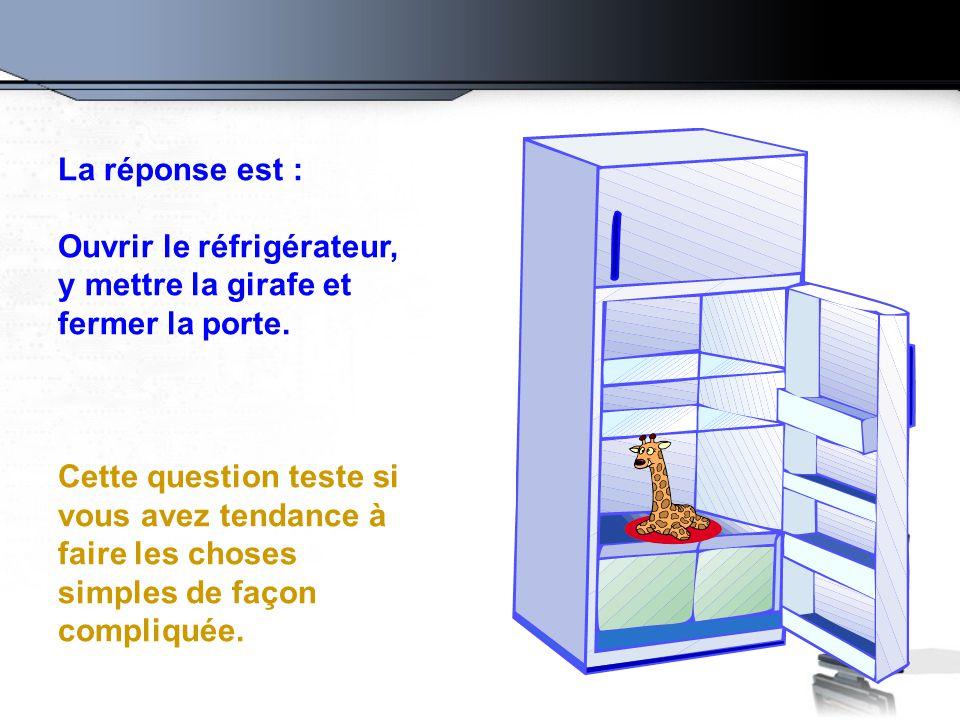 La réponse est : Ouvrir le réfrigérateur, y mettre la girafe et fermer la porte. Cette question teste si vous avez tendance à faire les choses simples