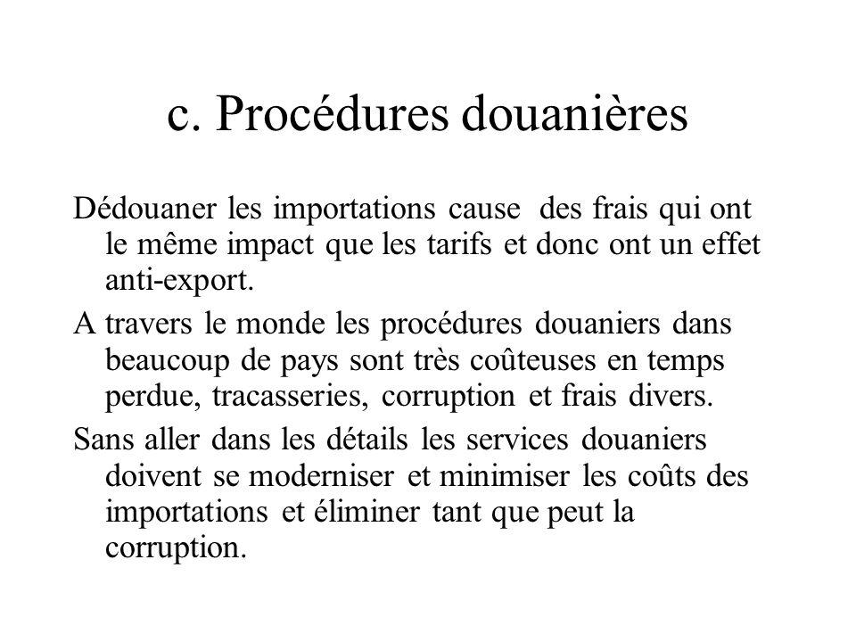 c. Procédures douanières Dédouaner les importations cause des frais qui ont le même impact que les tarifs et donc ont un effet anti-export. A travers