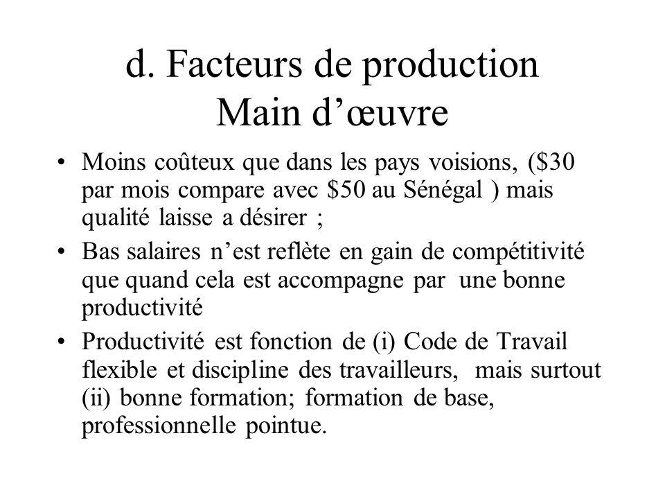 d. Facteurs de production Main d'œuvre Moins coûteux que dans les pays voisions, ($30 par mois compare avec $50 au Sénégal ) mais qualité laisse a dés