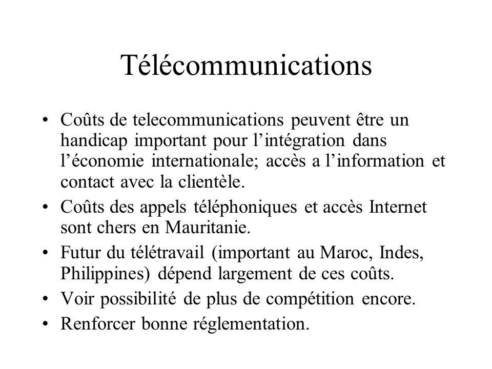 Télécommunications Coûts de telecommunications peuvent être un handicap important pour l'intégration dans l'économie internationale; accès a l'information et contact avec la clientèle.