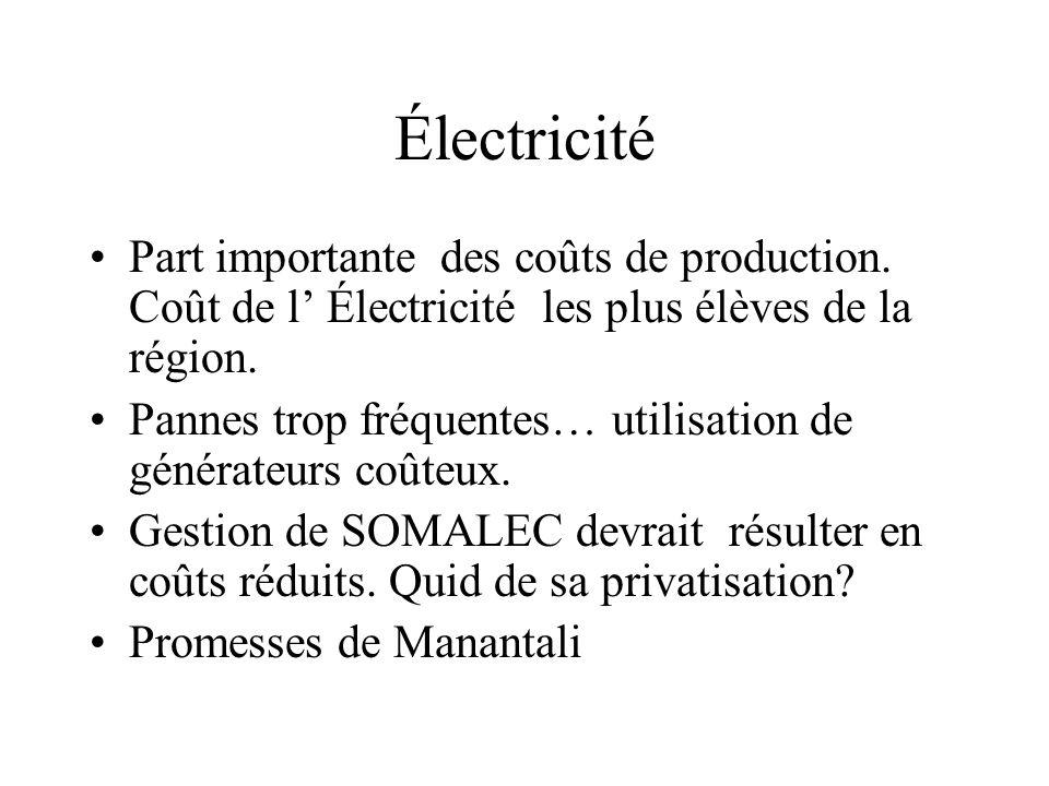 Électricité Part importante des coûts de production. Coût de l' Électricité les plus élèves de la région. Pannes trop fréquentes… utilisation de génér