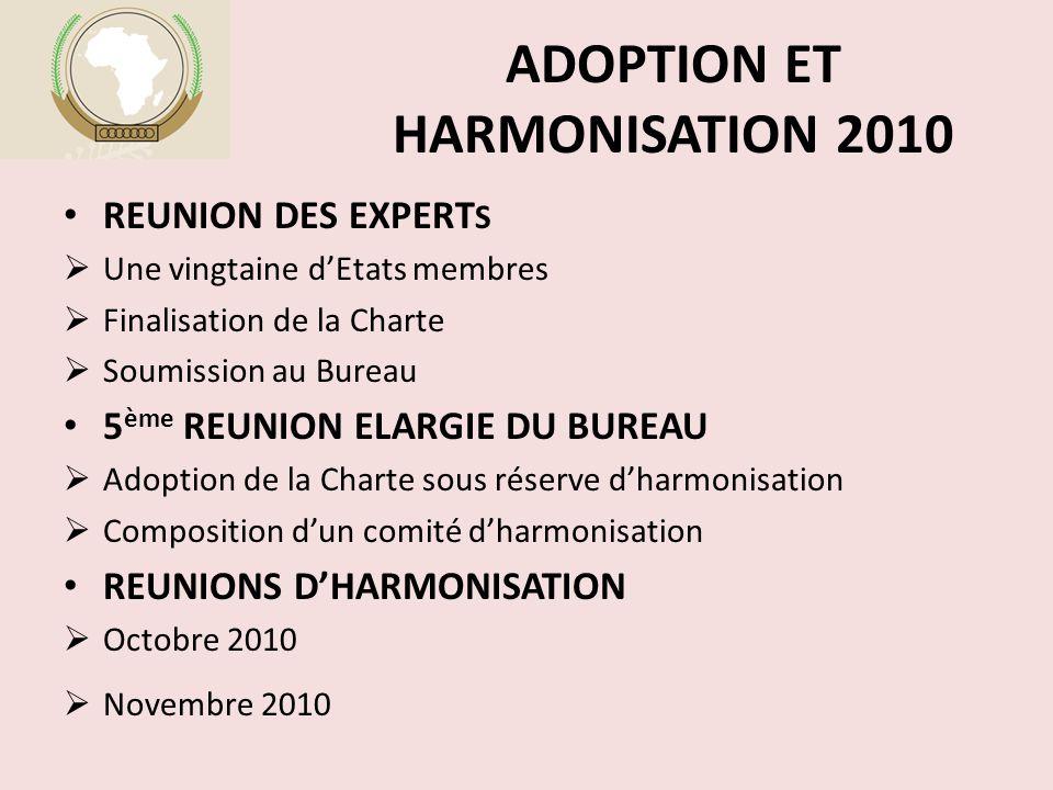 ADOPTION ET HARMONISATION 2010 REUNION DES EXPERT S  Une vingtaine d'Etats membres  Finalisation de la Charte  Soumission au Bureau 5 ème REUNION ELARGIE DU BUREAU  Adoption de la Charte sous réserve d'harmonisation  Composition d'un comité d'harmonisation REUNIONS D'HARMONISATION  Octobre 2010  Novembre 2010