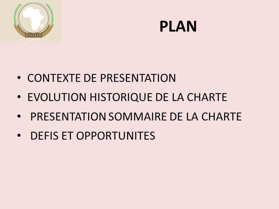 PLAN CONTEXTE DE PRESENTATION EVOLUTION HISTORIQUE DE LA CHARTE PRESENTATION SOMMAIRE DE LA CHARTE DEFIS ET OPPORTUNITES