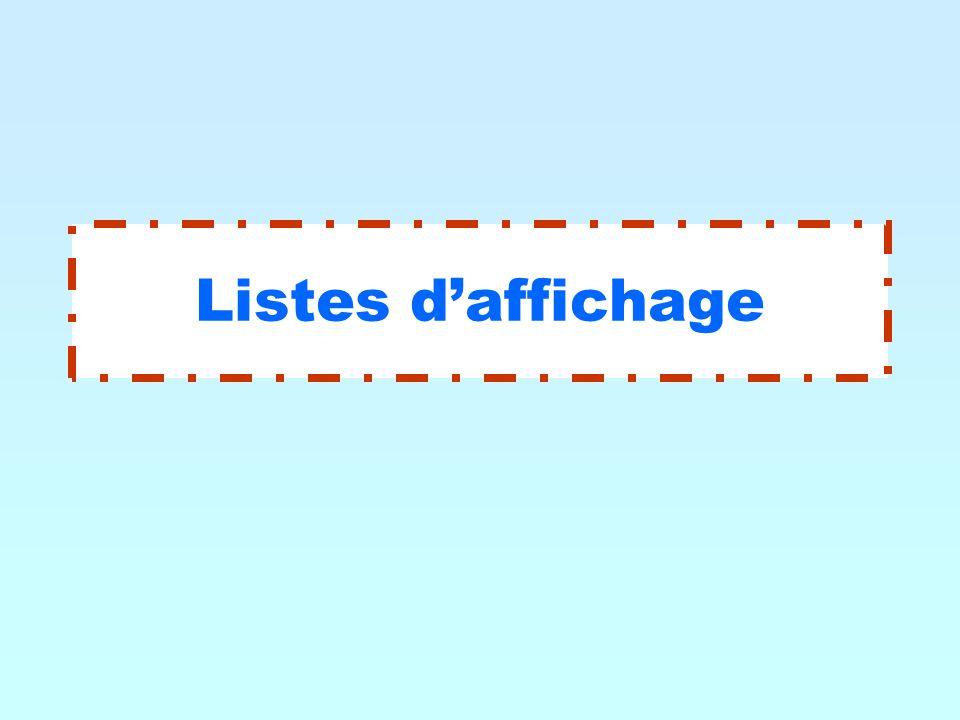 Listes d'affichage