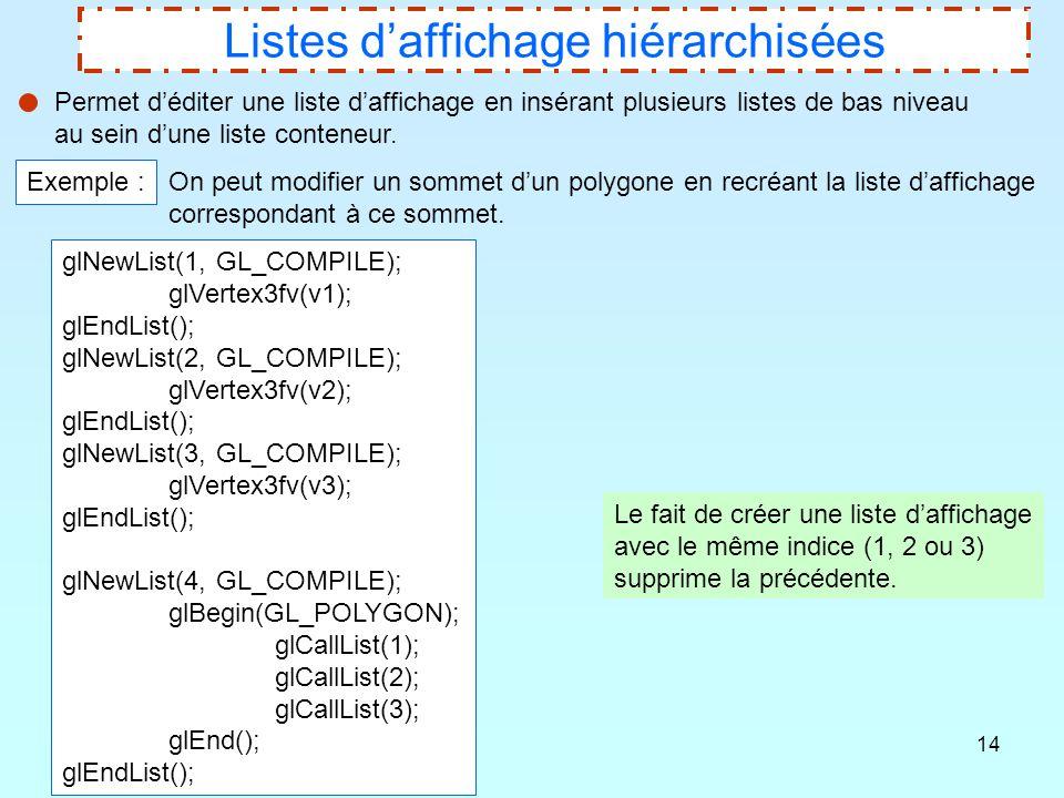 14 Listes d'affichage hiérarchisées Permet d'éditer une liste d'affichage en insérant plusieurs listes de bas niveau au sein d'une liste conteneur. Ex