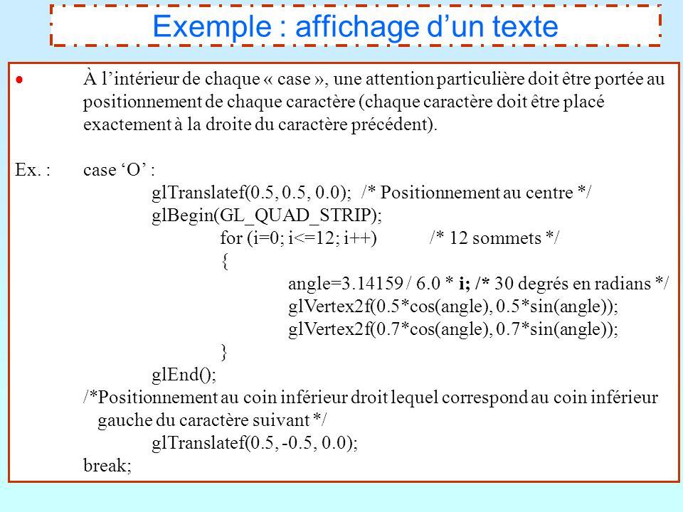 18 Exemple : affichage d'un texte  À l'intérieur de chaque « case », une attention particulière doit être portée au positionnement de chaque caractèr