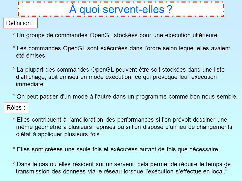 2 À quoi servent-elles ? Définition : ° Un groupe de commandes OpenGL stockées pour une exécution ultérieure. ° Les commandes OpenGL sont exécutées da