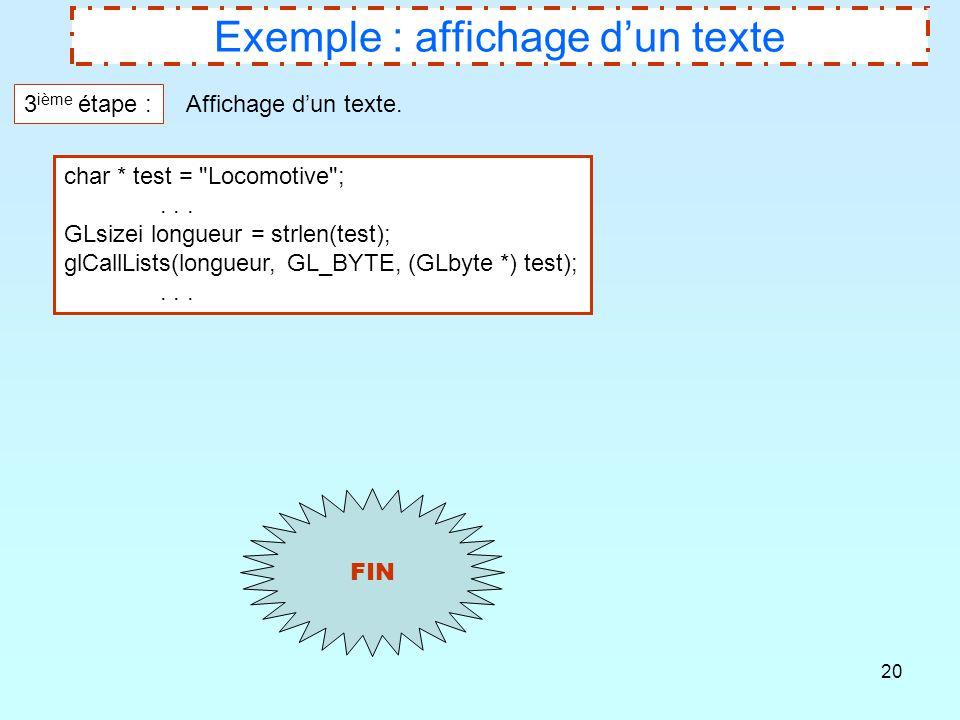 20 Exemple : affichage d'un texte 3 ième étape : Affichage d'un texte. char * test =