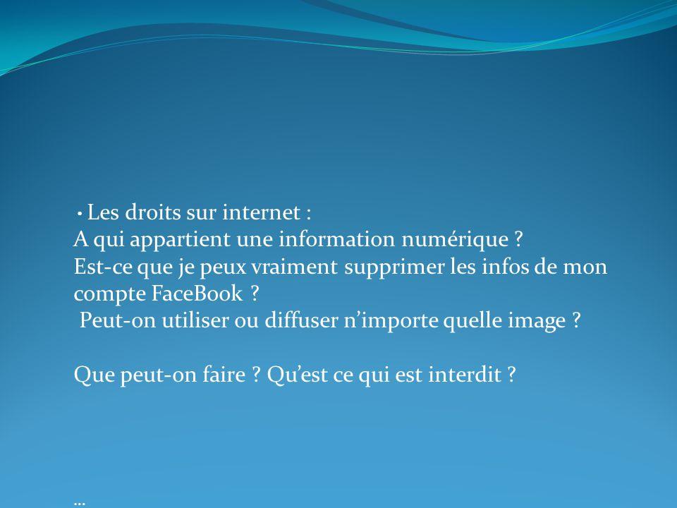 Les droits sur internet : A qui appartient une information numérique ? Est-ce que je peux vraiment supprimer les infos de mon compte FaceBook ? Peut-o