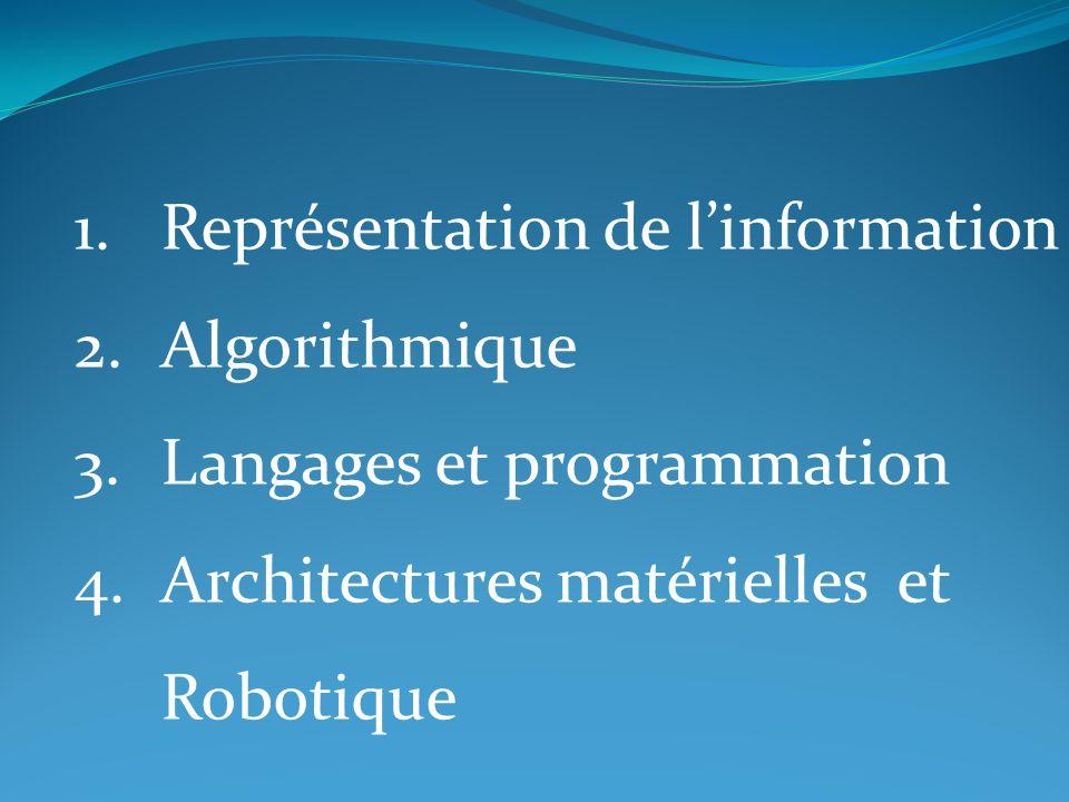 1.Représentation de l'information 2.Algorithmique 3.Langages et programmation 4.Architectures matérielles et Robotique