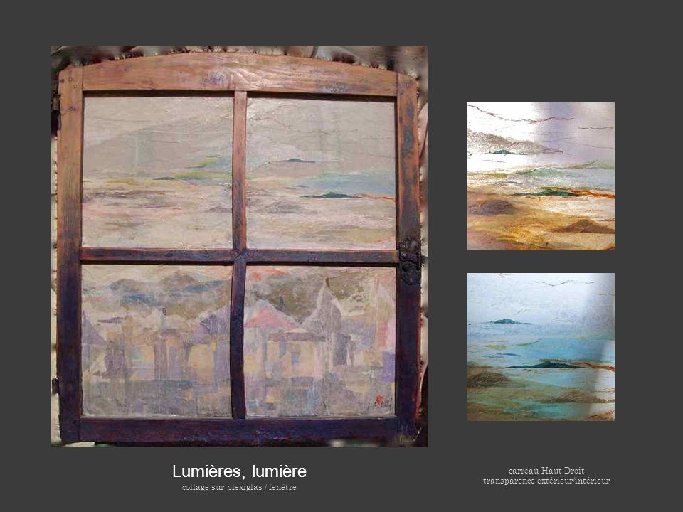 Lumières, lumière collage sur plexiglas / fenêtre carreau Haut Droit transparence extérieur/intérieur