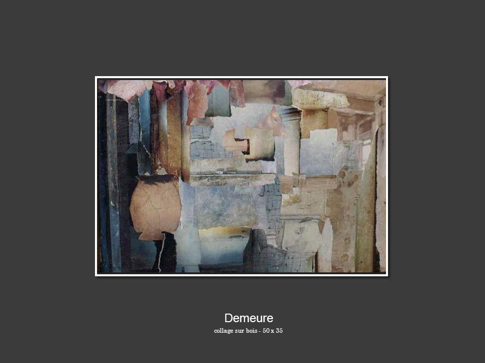Demeure collage sur bois - 50 x 35