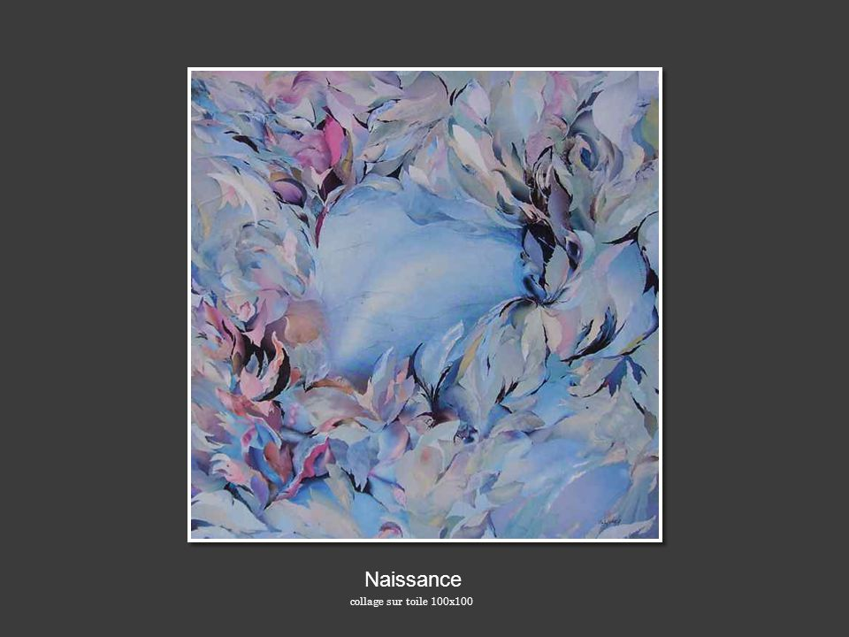 Naissance collage sur toile 100x100