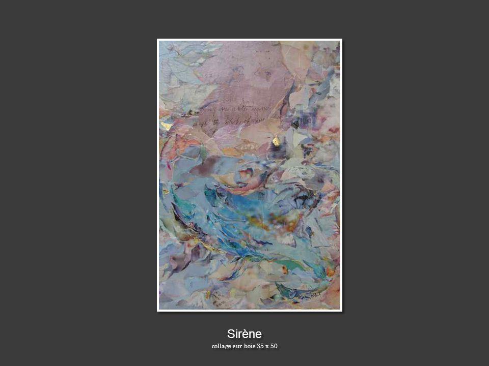 Sirène collage sur bois 35 x 50 Sirène collage sur bois 35 x 50