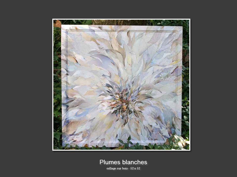 Plumes blanches collage sur bois - 52 x 52 Plumes blanches collage sur bois - 52 x 52
