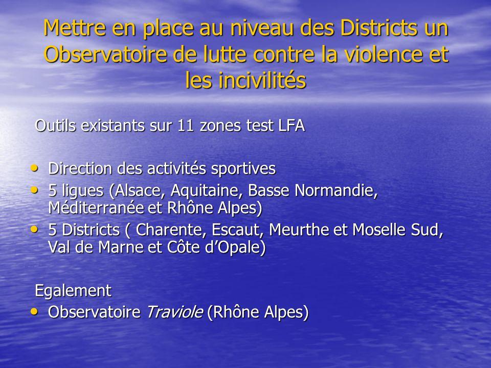 Mettre en place au niveau des Districts un Observatoire de lutte contre la violence et les incivilités Outils existants sur 11 zones test LFA Outils e