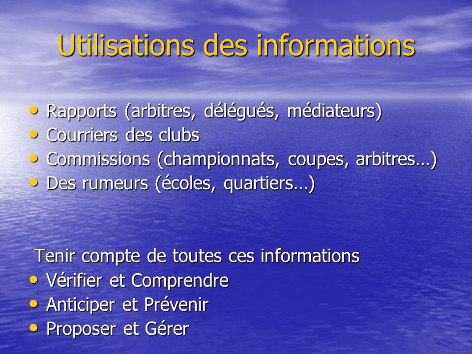 Utilisations des informations Rapports (arbitres, délégués, médiateurs) Rapports (arbitres, délégués, médiateurs) Courriers des clubs Courriers des cl