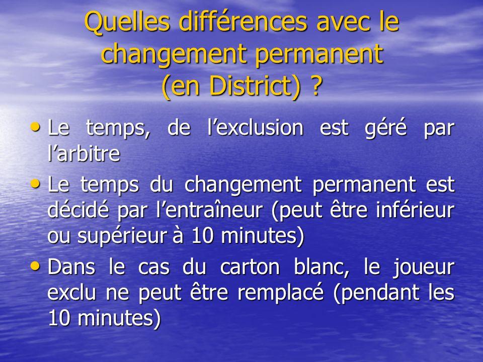 Quelles différences avec le changement permanent (en District) ? Le temps, de l'exclusion est géré par l'arbitre Le temps, de l'exclusion est géré par