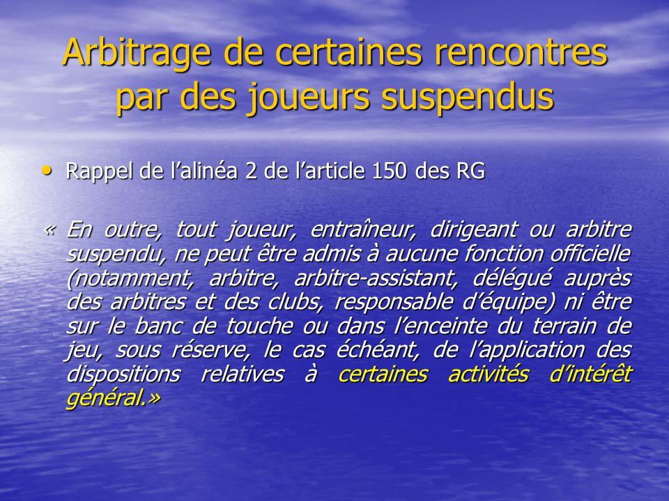 Arbitrage de certaines rencontres par des joueurs suspendus Rappel de l'alinéa 2 de l'article 150 des RG Rappel de l'alinéa 2 de l'article 150 des RG